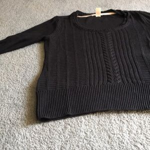 Black DNKY cable front sweater.  Round scoop neck
